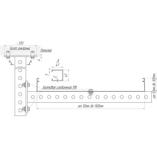 Полка настенная усиленная СТРАТ L = 230 мм